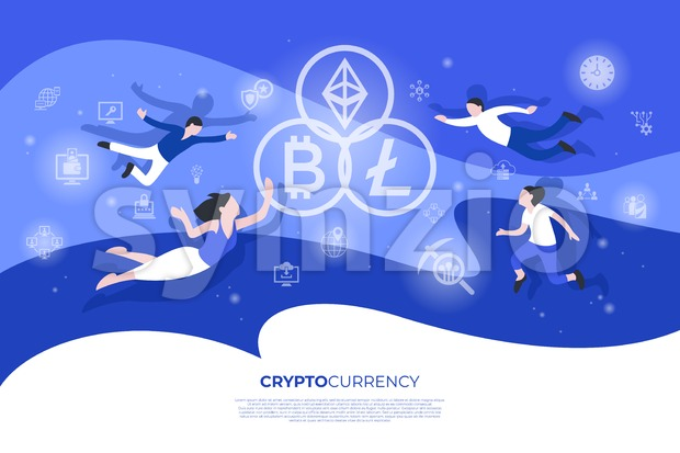 Cryptocurrency bitcoin technology icons infographics with people, digital vector advert