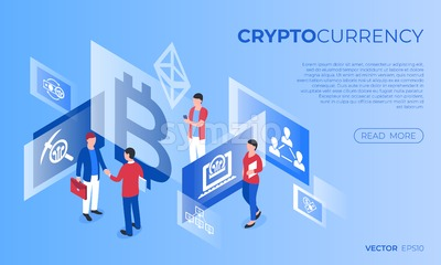 Cryptocurrency bitcoin technology icons infographics with business people, digital vector advert Stock Vector
