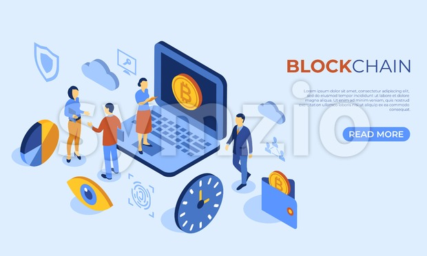 Cryptocurrency bitcoin technology isometric 3d icons infographics with business people, digital vector advert Stock Vector