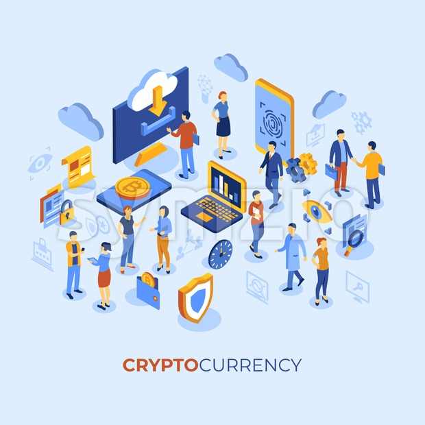 Cryptocurrency bitcoin technology isometric 3d icons infographics with business people, digital vector advert