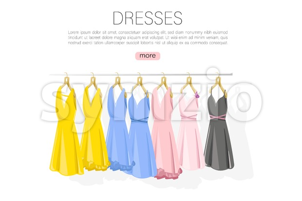 Dress collection vector flat style. colorful classic women dresses on shelves illustration Stock Vector