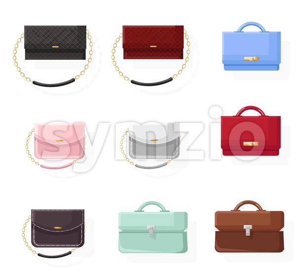 Bags set vector flat style. Colorful collection classic style stylish accesories illustration Stock Vector