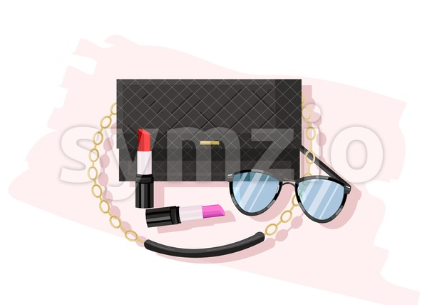 Classic black bag vector flat style. Women essential cosmetics and accesories brochure poster icon template