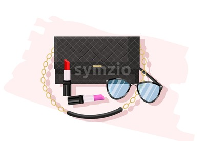 Classic black bag vector flat style. Women essential cosmetics and accesories brochure poster icon template Stock Vector