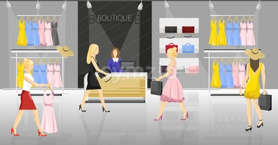 Women in a fancy store Vector. People trying on clothes and accesories. Sale promotion brochure template Stock Vector