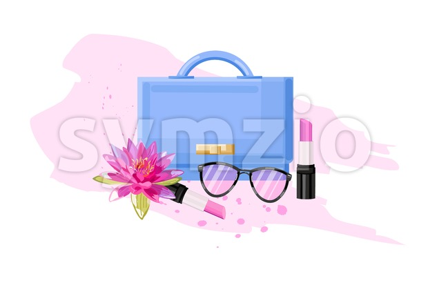 Eyeglasses, bag and lipstick vector flat style. Women essential cosmetic brochure poster icon template