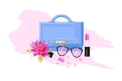 Eyeglasses, bag and lipstick vector flat style. Women essential cosmetic brochure poster icon template Stock Vector