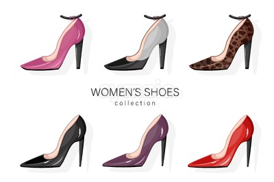 Woman shoes pumps set Vector. Promotion brochure banner or poster Stock Vector