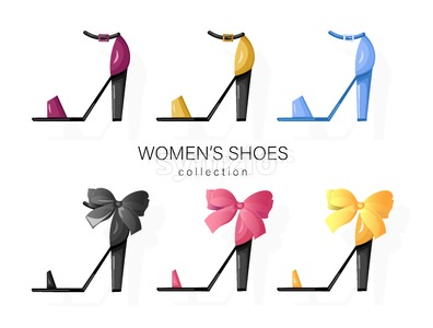 Woman shoes set Vector. Promotion brochure banner or poster Stock Vector
