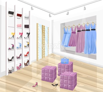 Dress and shoe store boutique vector flat style. Promotion sale shoe racks illustration Stock Vector
