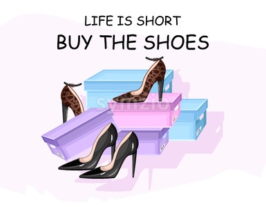 Buy shoes vector poster advertise. Shoe sale brochure template Stock Vector