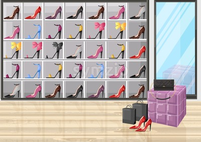 Shoe store racks vector flat style. Promotion sale background illustration Stock Vector
