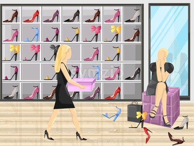 Woman trying on shoes in a store Vector flat style illustration Stock Vector