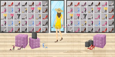 Woman in a shoes boutique store Vector flat style illustration Stock Vector