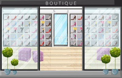 Shoe store boutique vector flat style. Promotion sale shoe racks illustration Stock Vector