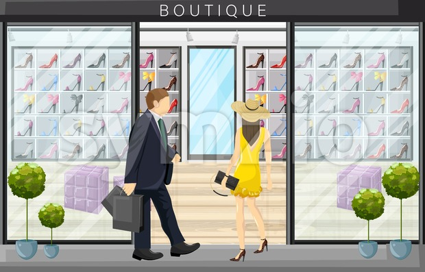 Woman walking in a shoes boutique store Vector flat style illustration Stock Vector