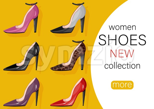 Woman shoes sale Vector. Promotion brochure banner or poster Stock Vector