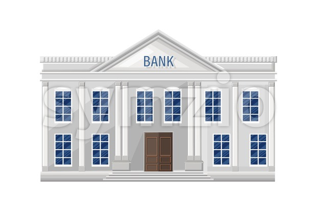 Bank architecture facade isolated Vector. Flat style illustration Stock Vector