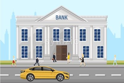 Bank architecture facade Vector. People walking around the street. Flat style illustration Stock Vector