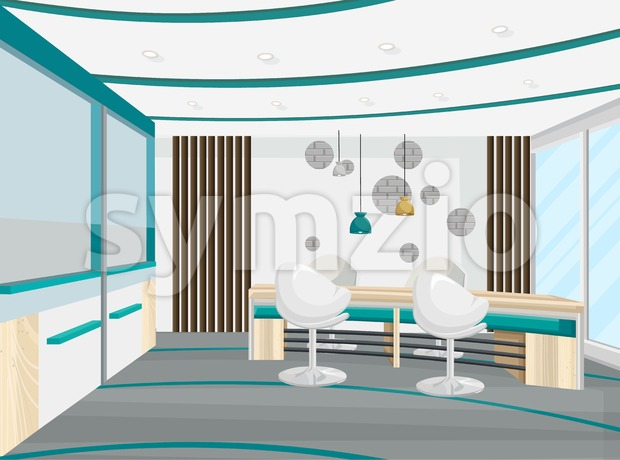 Office desk and chairs meeting room Vector. Business center, call center, bank or technology hub interior. flat style Stock Vector