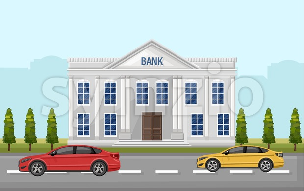 Bank street view Vector. Cars outdoors Flat style illustration Stock Vector