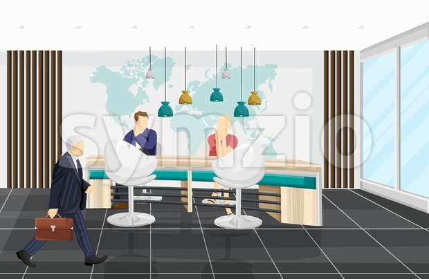 Business center Vector background. People discussing projects. Call center, bank or technology hub flat style