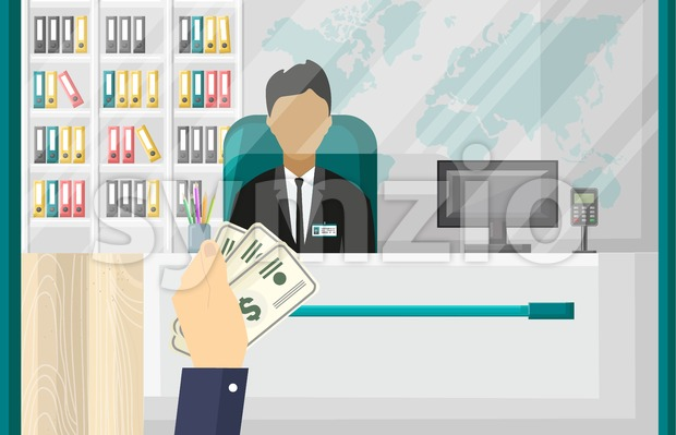 Hand holding cash money Vector. Office bank interior background. Investment or Bank account concept flat style