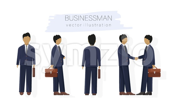 Business man character design set Vector. Woman with various views, poses and gestures. flat style isolated Stock Vector