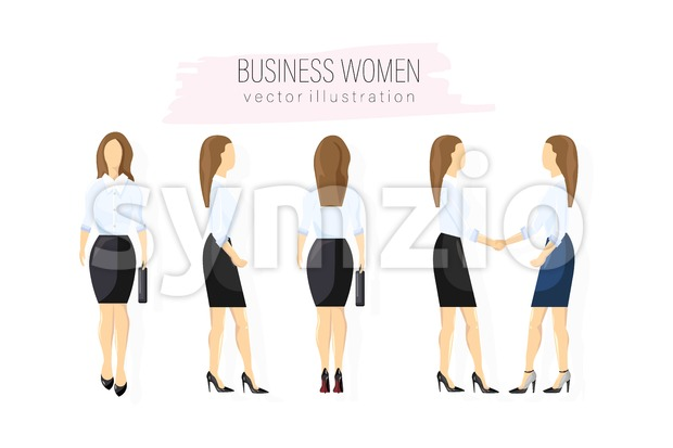 Business woman character design set Vector. Woman with various views, poses and gestures. flat style isolated