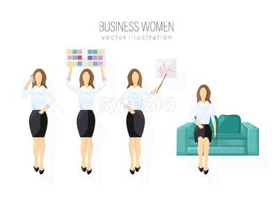 Business woman character design set Vector. Woman holding a banner. Different poses. flat style isolated Stock Vector