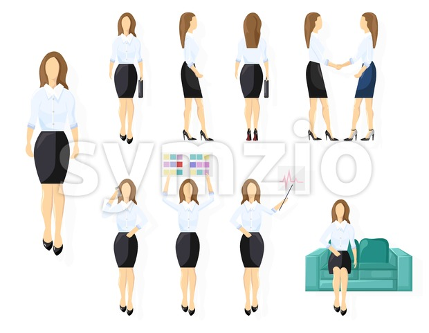 Business woman character design set Vector. Woman with various views, poses and gestures. flat style isolated Stock Vector
