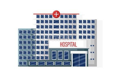 Hospital facade isolated Vector flat style. Medical center. Emergency entrance Stock Vector