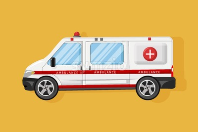 Ambulance car Vector flat style. Emergency medical service vehicle. Hospital transport Stock Vector