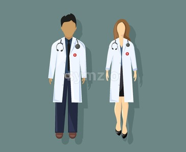 Doctors Vector flat style. Medical stuff concept. Practitioner young doctors man and woman uniform Stock Vector