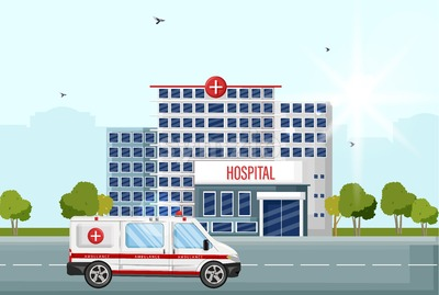Hospital facade street view Vector flat style. Ambulance car at the entrance Stock Vector