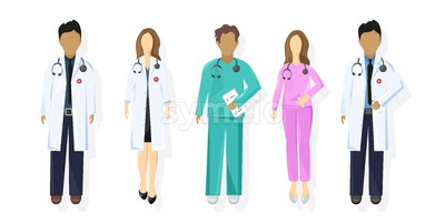 Doctors set Vector flat style. Medical stuff concept. Practitioner young doctors men and women uniforms Stock Vector