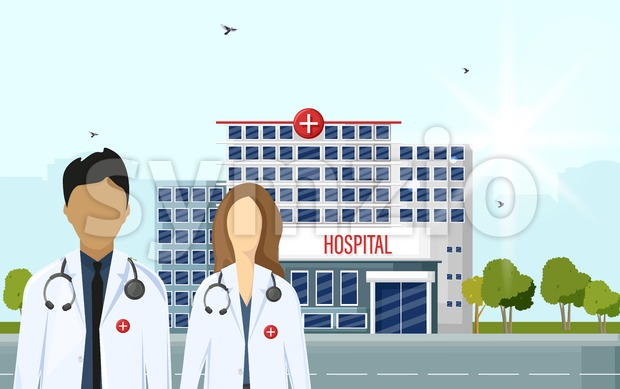 Doctors at the hospital Vector flat style. Medical center concept. Practitioner young doctors man and woman, hospital building. Medical staff Stock Vector