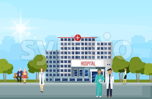 Hospital building and people Vector flat style. Panoramic background with hospital, doctors, nurses, patients waiting Stock Vector