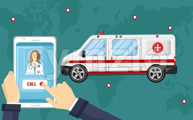 Smartphone ambulance call Vector flat style. Obline consultation emergency template illustration Stock Vector