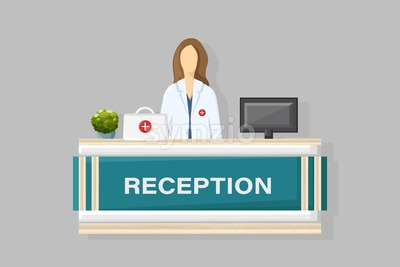 Medical reception Vector flat style. Doctor schedule appointment. Online consultation template Stock Vector