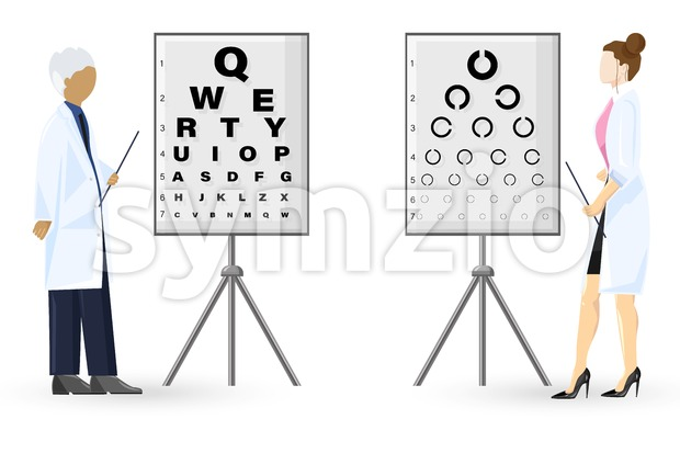 Ophthalmology examination Vector flat style. Doctors healthcare concept. template illustration