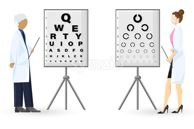Ophthalmology examination Vector flat style. Doctors healthcare concept. template illustration Stock Vector