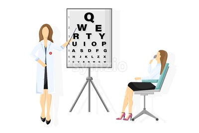 Patient ophthalmology examination Vector flat style. healthcare concept. template illustration Stock Vector