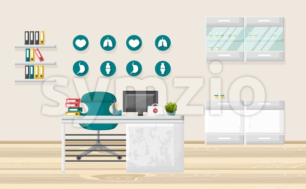 Medical office Vector. Medicine and healthcare concept. flat style template illustration
