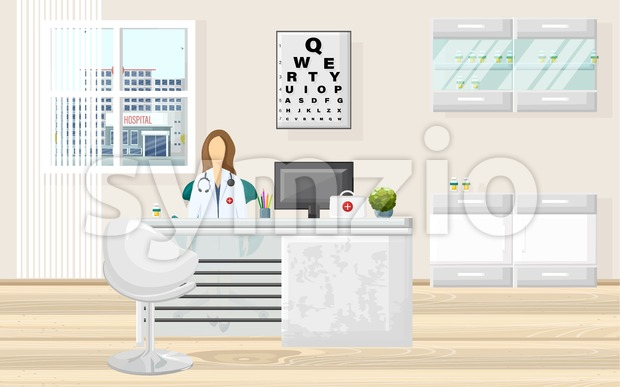 Medical office doctor consultation Vector. Medicine and healthcare concept. flat style template illustration Stock Vector