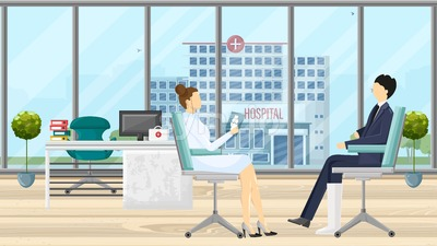 Patient at doctor consultation Vector. Medical office. Medicine and healthcare concept. flat style template illustration Stock Vector