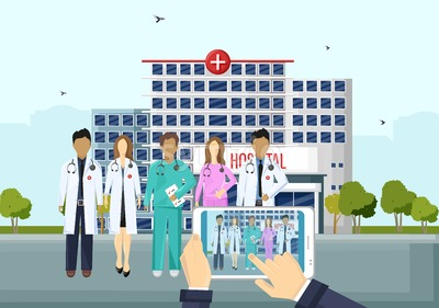 Doctor team in front of the hospital Vector flat style. Online consultation or emergency call. template illustration Stock Vector