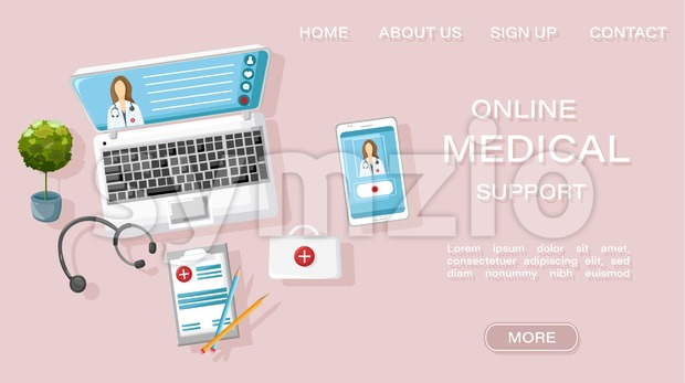 Online doctor medical treatment concept Vector. Note book and medicines flat style. Healthcare brochure page template Stock Vector