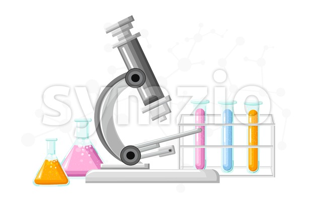 Medical Laboratory Conceptual Vector. Chemistry tubes. Reasearch, testing, clinique, studies in chemistry, physics biology illustration Stock Vector