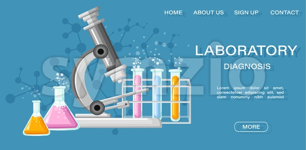 Medical Laboratory Conceptual Vector Illustration. Chemistry tubes. Reasearch, testing, clinique, studies in chemistry, physics, biology Online page Stock Vector